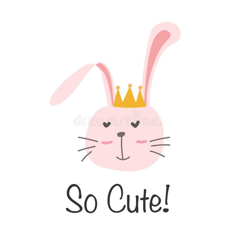 Λίγη πριγκήπισσα λαγουδάκι bunny χαριτωμένο διάνυσμα απε&iot ελεύθερη απεικόνιση δικαιώματος