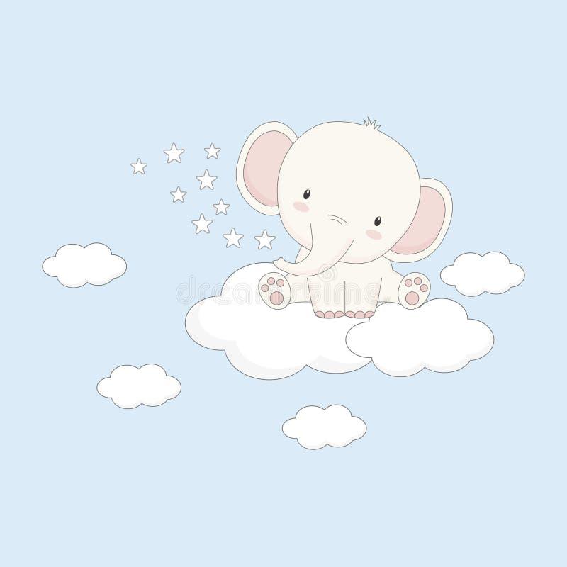 Λίγη συνεδρίαση ελεφάντων μωρών στο σύννεφο απεικόνιση αποθεμάτων