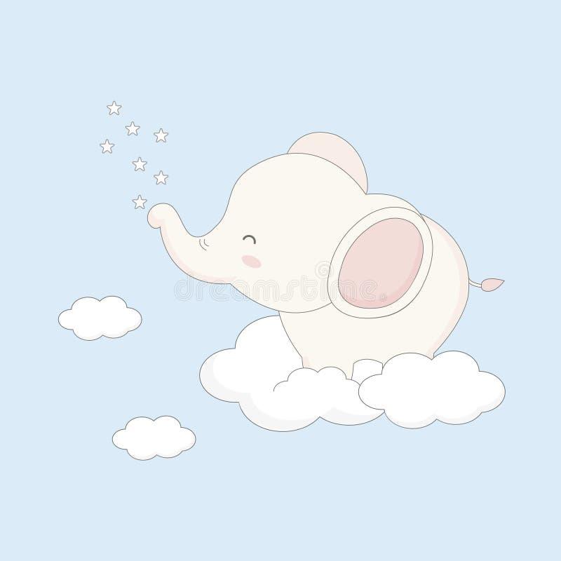Λίγη συνεδρίαση ελεφάντων μωρών στο σύννεφο διανυσματική απεικόνιση