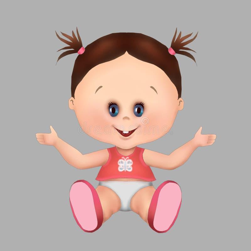Λίγη υγεία κοριτσάκι και προσοχή μωρών, ευχετήρια κάρτα, κάρτα, υγιή μω διανυσματική απεικόνιση