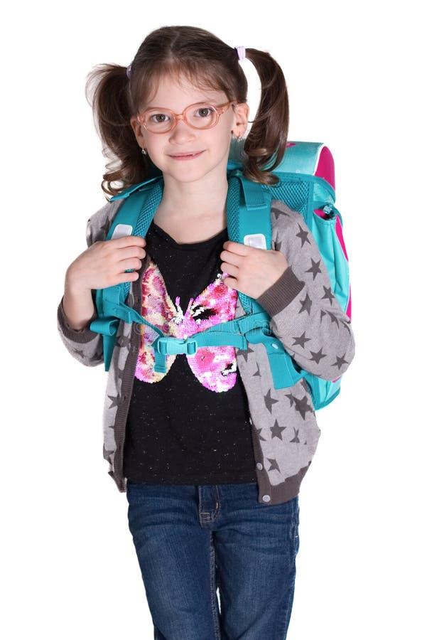 Λίγη χαμογελώντας μαθήτρια με τα γυαλιά στοκ φωτογραφίες