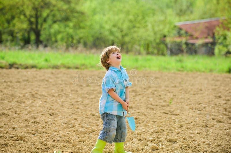 Λίγος αρωγός στον κήπο Αγόρι που φυτεύει το λουλούδι στο σκάβοντας έδαφος τομέων Εργασία στο αγρόκτημα Έννοια μητερών φύση Φύτευσ στοκ φωτογραφία