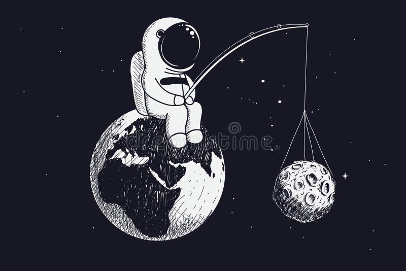 Λίγος αστροναύτης κάθεται στη γη και κρατά το φεγγάρι ελεύθερη απεικόνιση δικαιώματος