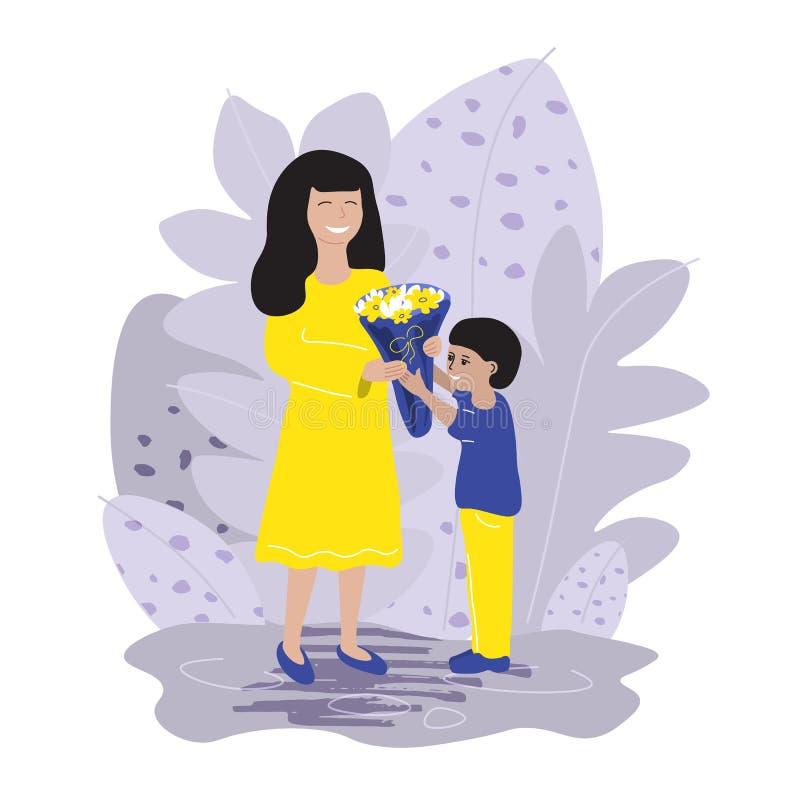 Λίγος γιος δίνει σε μια γελώντας μητέρα μια όμορφη ανθοδέσμη των λουλουδιών διανυσματική απεικόνιση