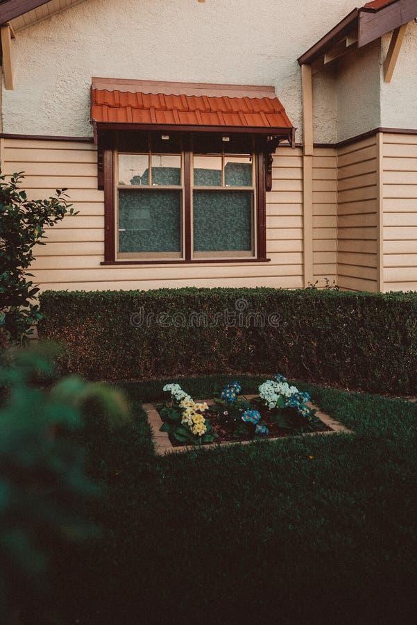 Λίγος κήπος ενός σπιτιού με τις εγκαταστάσεις και τα λουλούδια στοκ φωτογραφία με δικαίωμα ελεύθερης χρήσης