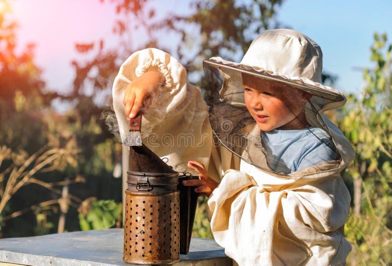 Λίγος μελισσοκόμος φυσά τον καπνιστή για τις μέλισσες στοκ εικόνες