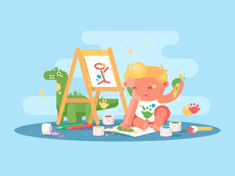 Λίγος νέος καλλιτέχνης μωρών απεικόνιση αποθεμάτων