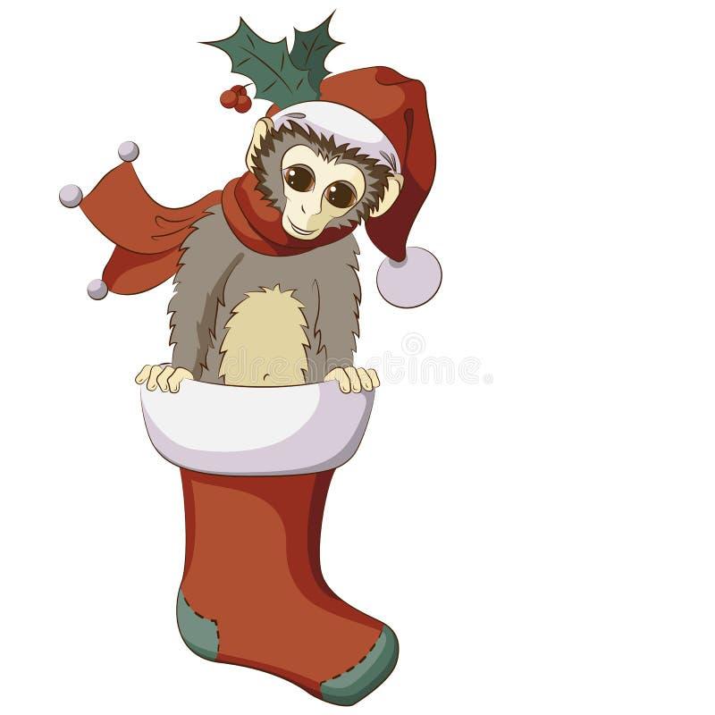 Λίγος πίθηκος που σκάει έξω από τη γυναικεία κάλτσα Χριστουγέννων ελεύθερη απεικόνιση δικαιώματος