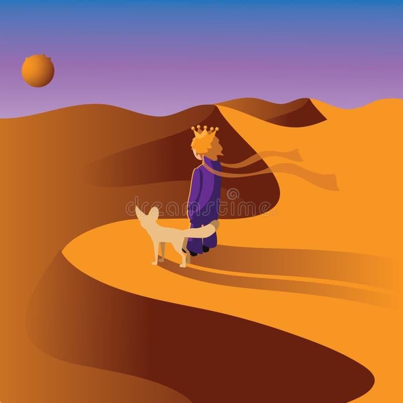 Λίγος πρίγκηπας με μια αλεπού Fennec στην έρημο απεικόνιση αποθεμάτων