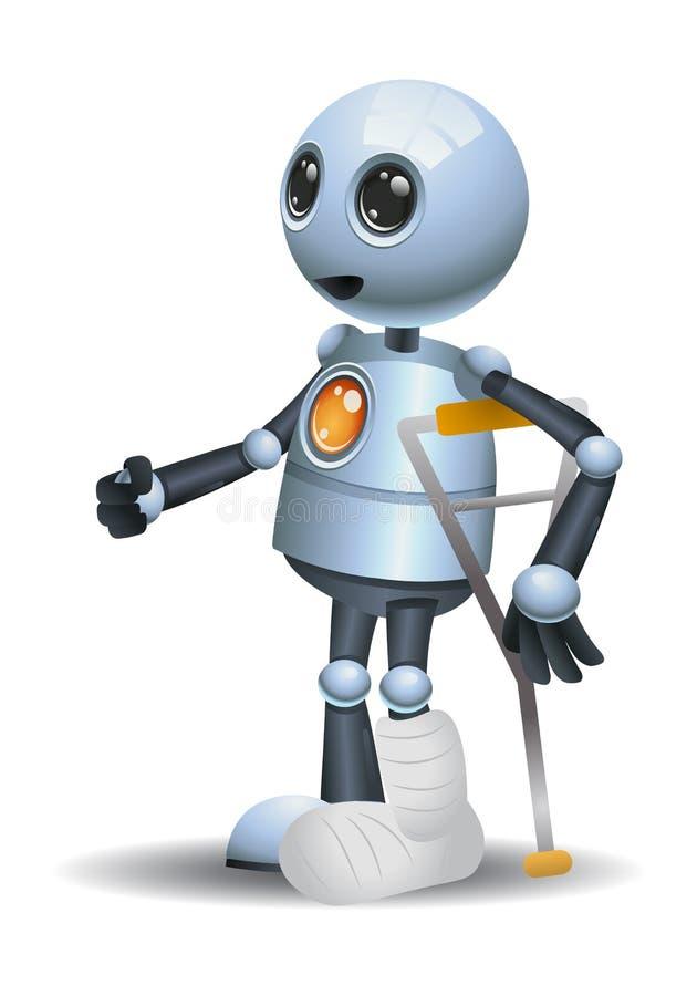 Λίγος σπασμένος ρομπότ τραυματισμός ποδιών που χρησιμοποιεί τον απατεώνα διανυσματική απεικόνιση