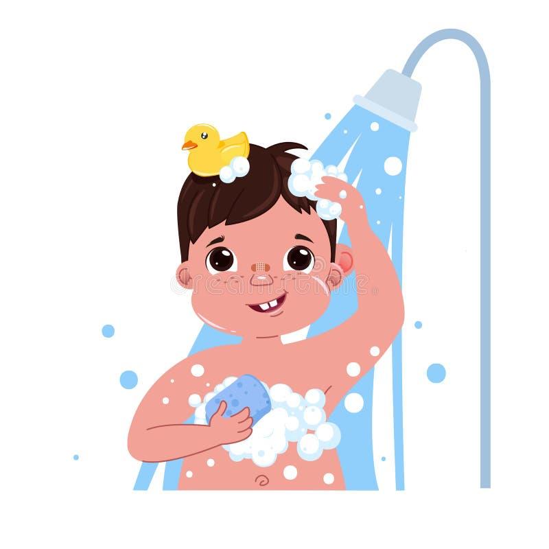Λίγος χαρακτήρας αγοριών παιδιών παίρνει ένα ντους Καθημερινή ρουτίνα Εσωτερικό υπόβαθρο λουτρών διανυσματική απεικόνιση