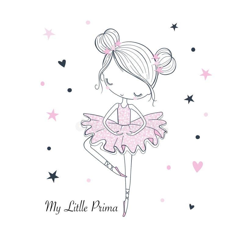Λίγος χορός Ballerina Παιδαριώδης διανυσματική γραφική απεικόνιση doodle διανυσματική απεικόνιση