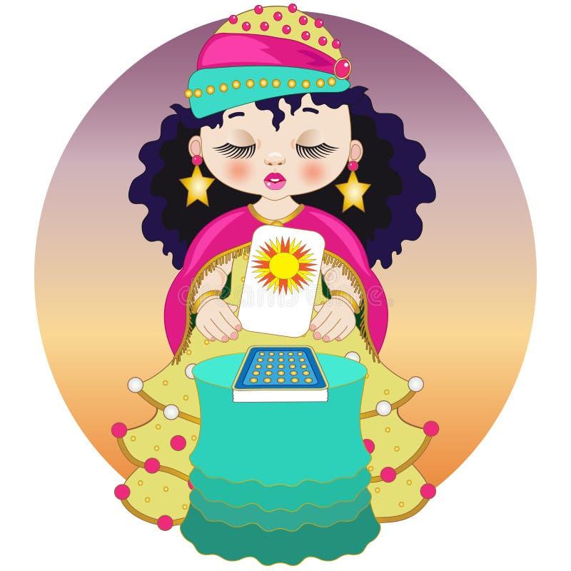 Λίγος fortune-teller με τις κάρτες tarot διανυσματική απεικόνιση