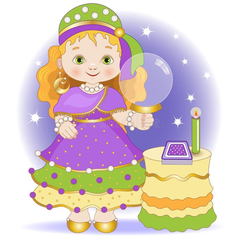 Λίγος fortune-teller με τις κάρτες tarot ελεύθερη απεικόνιση δικαιώματος