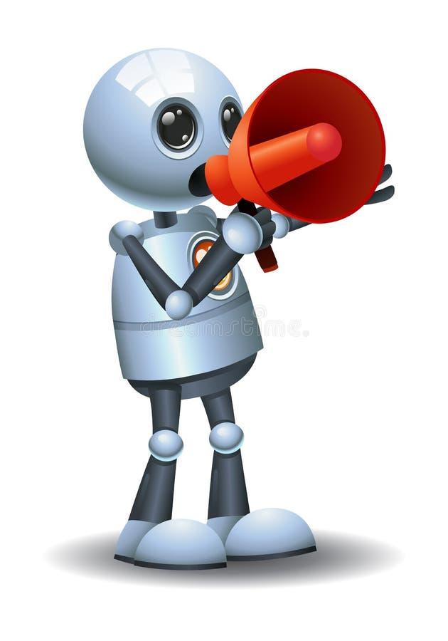λίγος megaphone λαβής ρομπότ ενθαρρυντικός επάνω ελεύθερη απεικόνιση δικαιώματος
