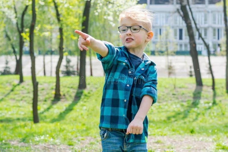 Λίγο έκπληκτο αγόρι στα γυαλιά παρουσιάζει κάπου με ένα δάχτυλο στο πάρκο στοκ εικόνα