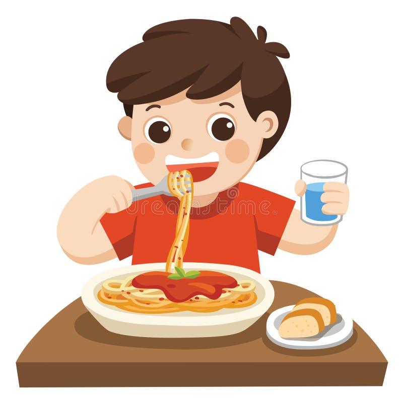 Λίγο αγόρι ευτυχές να φάει τα μακαρόνια ελεύθερη απεικόνιση δικαιώματος