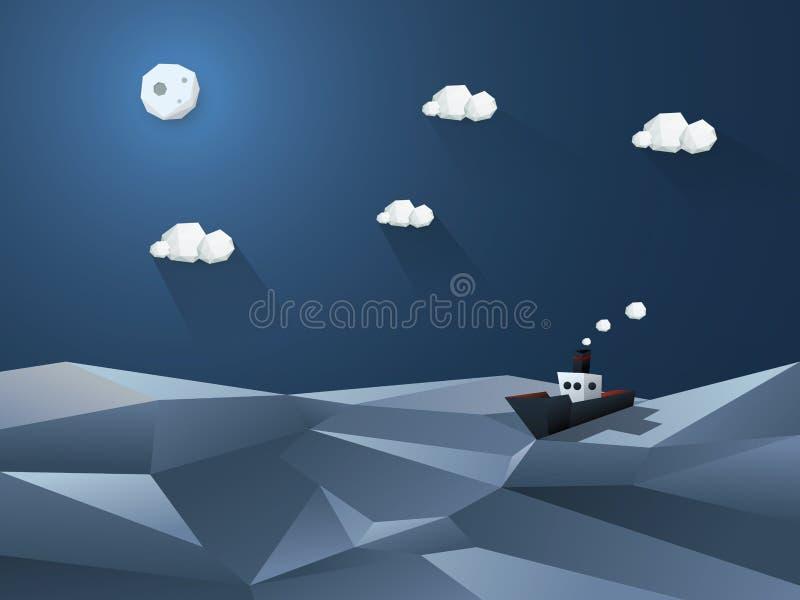 Λίγο ατμόπλοιο στις ανοικτές θάλασσες Ωκεανός νύχτας ελεύθερη απεικόνιση δικαιώματος