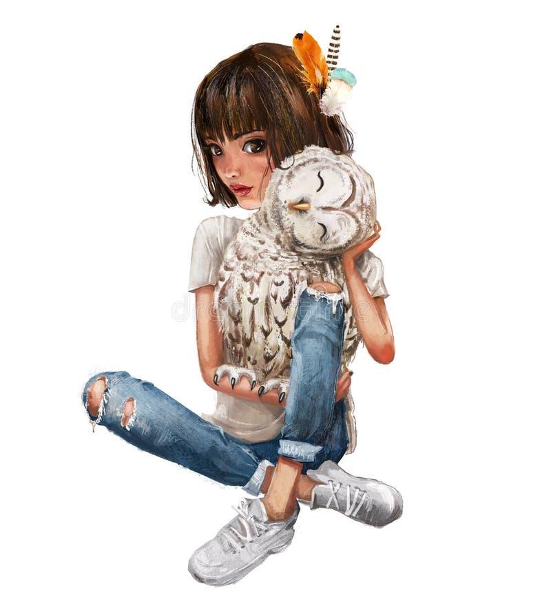 Λίγο θερινό κορίτσι με μια κουκουβάγια διανυσματική απεικόνιση