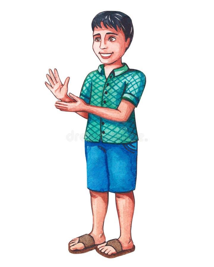 Λίγο ινδικό αγόρι χτυπά τα χέρια του επιδοκιμάζει κάποιο απεικόνιση αποθεμάτων