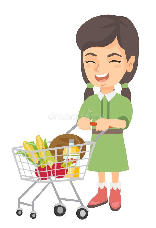Λίγο καυκάσιο κορίτσι με το καροτσάκι αγορών της απεικόνιση αποθεμάτων