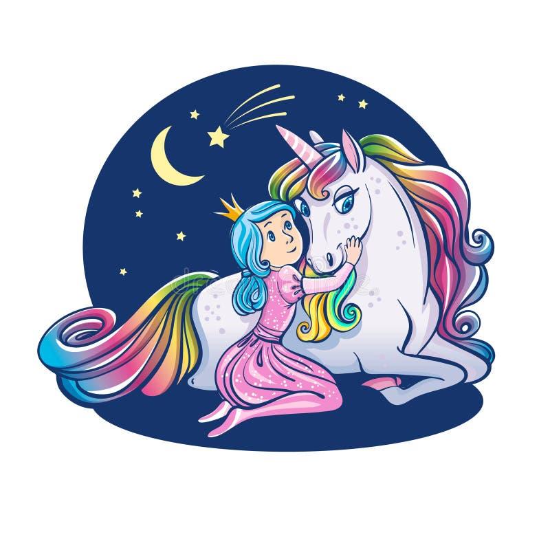 Λίγο κορίτσι πριγκηπισσών και χαριτωμένος μονόκερος, απεικόνιση απεικόνιση αποθεμάτων