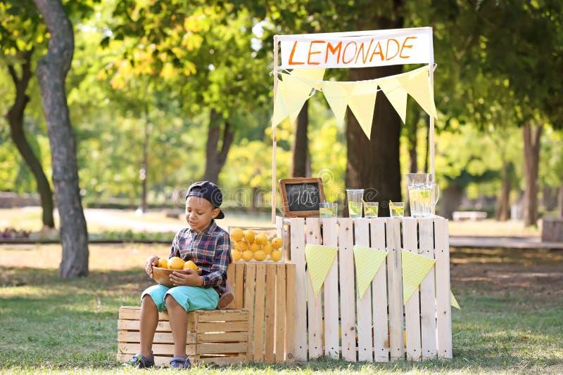 Λίγο κύπελλο εκμετάλλευσης αγοριών αφροαμερικάνων με τα ώριμα λεμόνια στέκεται πλησίον στο πάρκο στοκ εικόνα