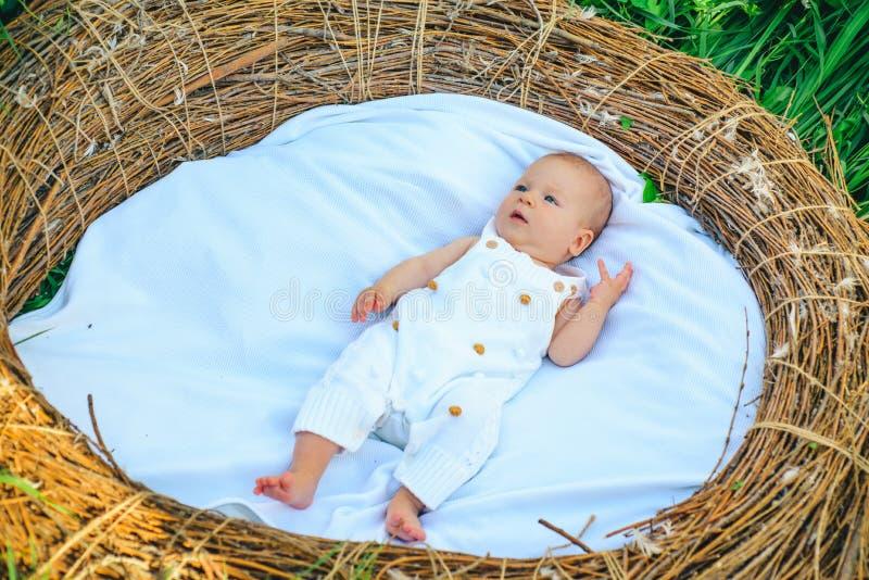 Λίγο λούσιμο μωρών Νεογέννητο μωρό στο ψάθινο παχνί Το μικρό παιδί ή το κορίτσι χαλαρώνει υπαίθριο Φροντίδα των παιδιών και επεξε στοκ εικόνα