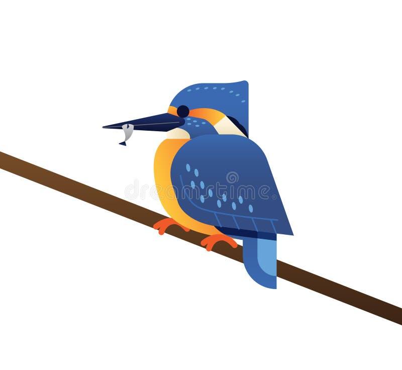 Λίγο μπλε πουλί ψαριών βασιλιάδων διανυσματική απεικόνιση
