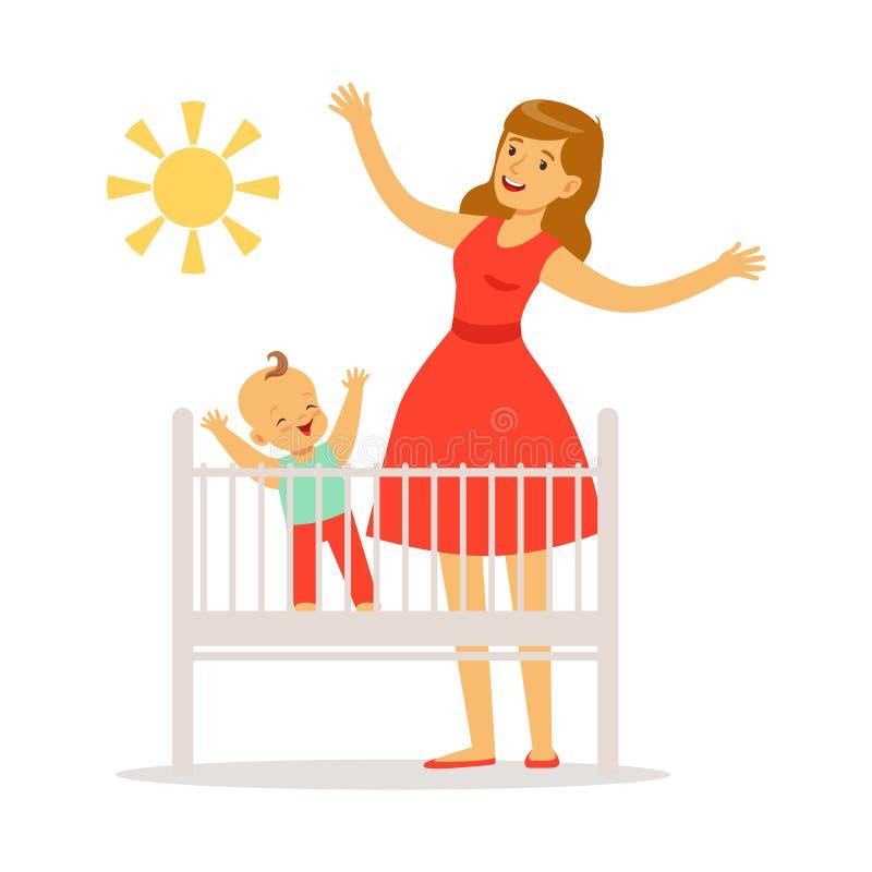 Λίγο μωρό είναι στο παχνί ξύπνησε το πρωί, τη μητέρα και λίγο μωρό στην κρεβατοκάμαρα που απολαμβάνει τον ήλιο ζωηρόχρωμο διανυσματική απεικόνιση
