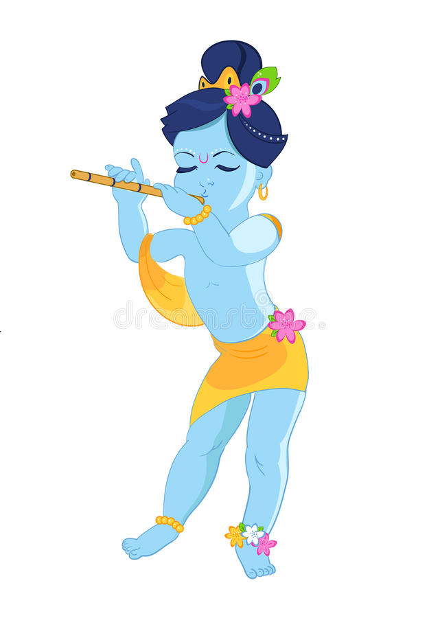 Λίγο μωρό Λόρδος Krishna παίζει το φλάουτο, διανυσματική απεικόνιση ενός ινδικού φεστιβάλ απεικόνιση αποθεμάτων