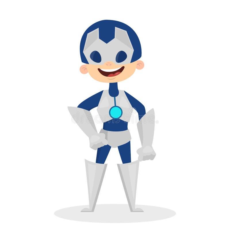 Λίγο παιδί που στέκεται σε ένα κοστούμι ρομπότ διανυσματική απεικόνιση