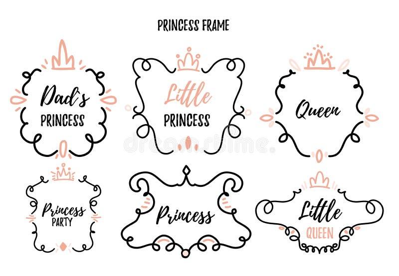 Λίγο πλαίσιο πριγκηπισσών έθεσε στο ύφος doodle για το ντους μωρών, γιορτή γενεθλίων απεικόνιση αποθεμάτων