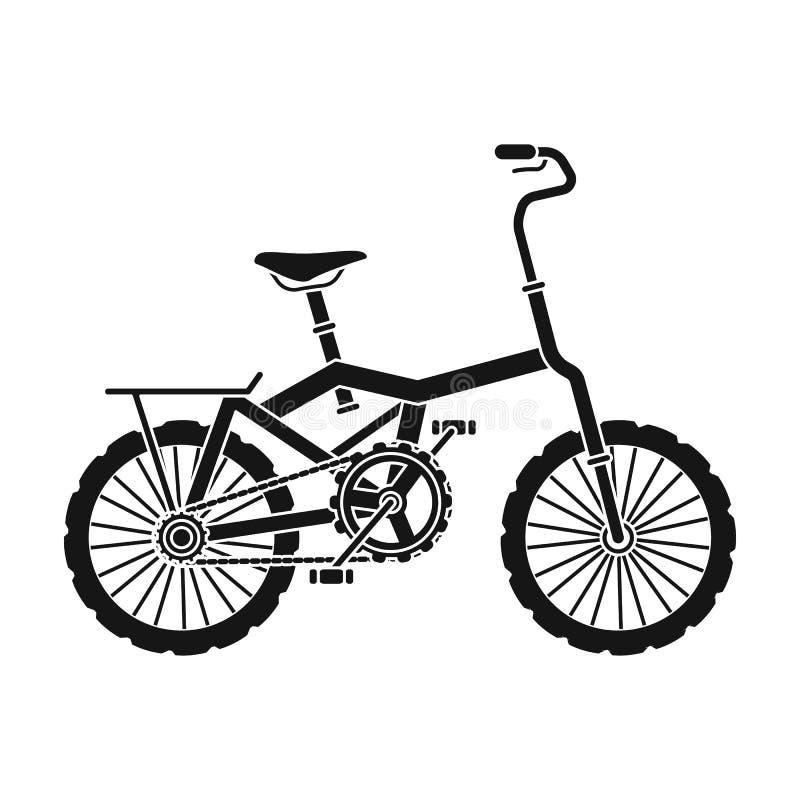 Λίγο πορτοκαλί ποδήλατο παιδιών s Ποδήλατα για τα παιδιά και έναν υγιή τρόπο ζωής Διαφορετικό ενιαίο εικονίδιο ποδηλάτων στο Μαύρ διανυσματική απεικόνιση