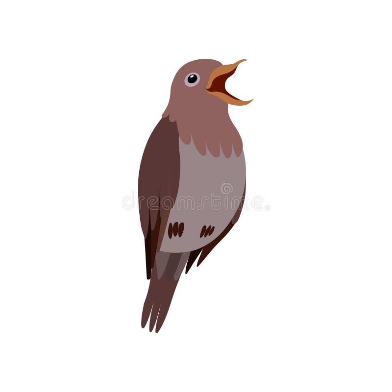 Λίγο πουλί Nightingale, χαριτωμένη διανυσματική απεικόνιση της εγχώριας Pet Birdie απεικόνιση αποθεμάτων