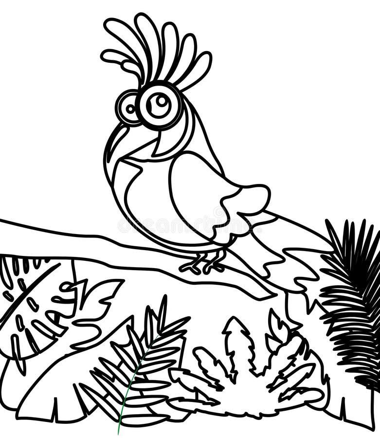 Λίγο πουλί σε μια χρωματίζοντας σελίδα κλάδων ελεύθερη απεικόνιση δικαιώματος