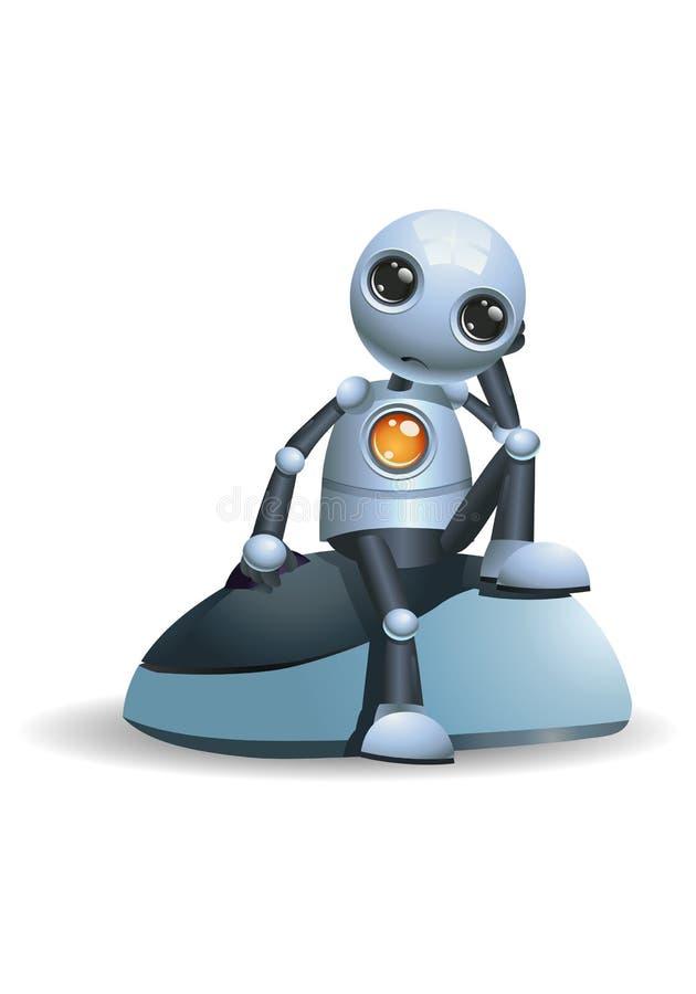 Λίγο ρομπότ κάθεται στο ποντίκι υπολογιστών απεικόνιση αποθεμάτων