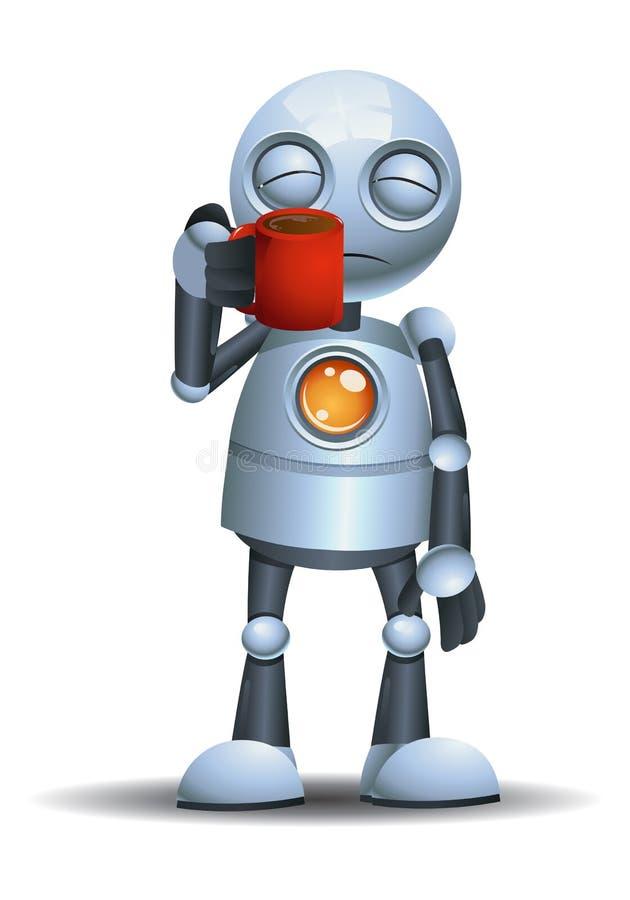 λίγο ρομπότ κρατά τα ποτά ενώ μισός ύπνος απεικόνιση αποθεμάτων