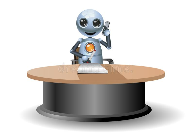 Λίγο ρομπότ λαμβάνει την κλήση στο απομονωμένο άσπρο υπόβαθρο ελεύθερη απεικόνιση δικαιώματος