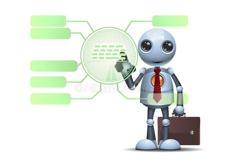 Λίγο ρομπότ που χρησιμοποιεί την ψηφιακή επιτροπή νέας τεχνολογίας ελεύθερη απεικόνιση δικαιώματος