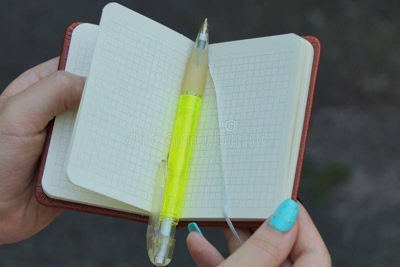 λίγο σημειωματάριο με μια πράσινη μάνδρα στα χέρια ενός κοριτσιού στοκ φωτογραφία