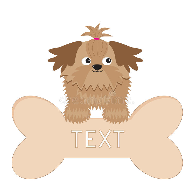 Λίγο σκυλί Shih Tzu μαυρίσματος γοητείας και μεγάλο κόκκαλο διανυσματική απεικόνιση