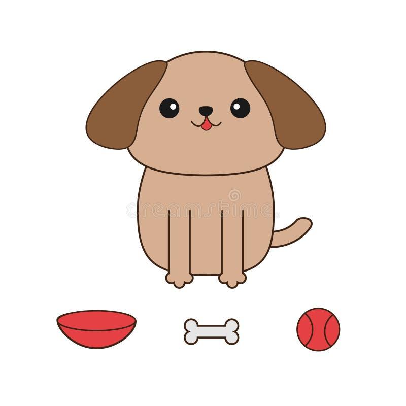 Λίγο σκυλί Shih Tzu μαυρίσματος γοητείας Παιχνίδι σφαιρών, κόκκαλο, κύπελλο απεικόνιση αποθεμάτων