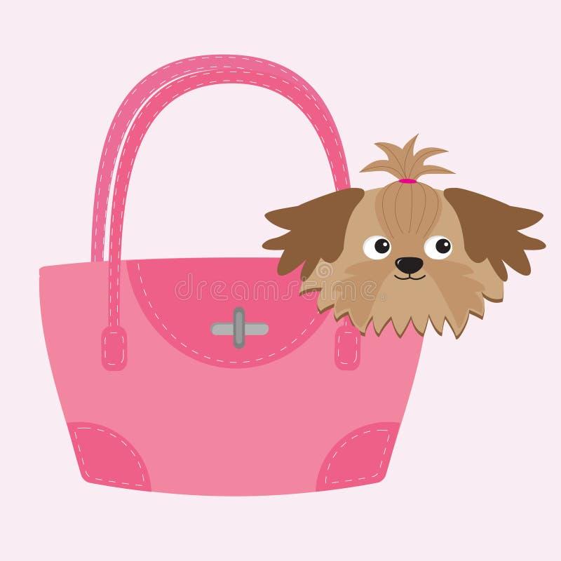 Λίγο σκυλί Shih Tzu μαυρίσματος γοητείας στη ρόδινη τσάντα διανυσματική απεικόνιση