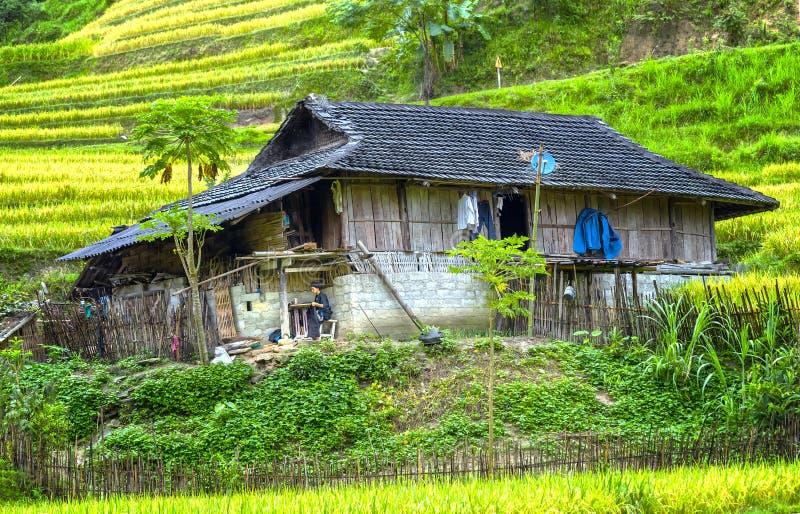 Λίγο σπίτι στο βορειοδυτικό Βιετνάμ λιβαδιών στοκ εικόνες