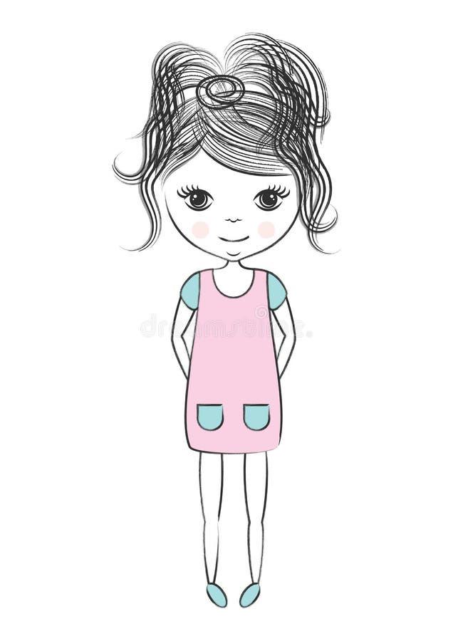 Λίγο χαριτωμένο εκλεκτής ποιότητας κοριτσάκι απεικόνιση αποθεμάτων