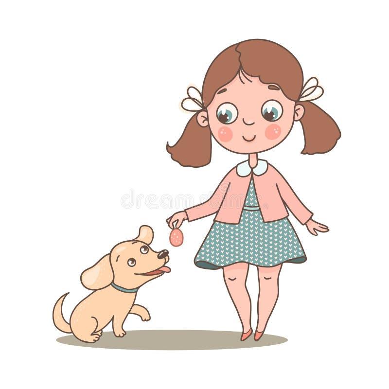 Λίγο χαριτωμένο κορίτσι με το αγαπημένο σκυλί της διανυσματική απεικόνιση