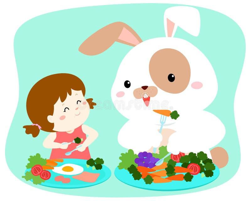 Λίγο χαριτωμένο κορίτσι που τρώει το λαχανικό με το χνουδωτό κουνέλι διανυσματική απεικόνιση
