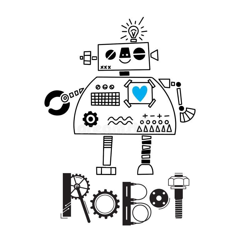 Λίγο χαριτωμένο ρομπότ και η επιγραφή των λεπτομερειών και των εργαλείων επίσης corel σύρετε το διάνυσμα απεικόνισης απεικόνιση αποθεμάτων
