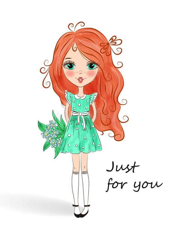 Λίγο όμορφο χαριτωμένο κοκκινομάλλες κορίτσι διανυσματική απεικόνιση